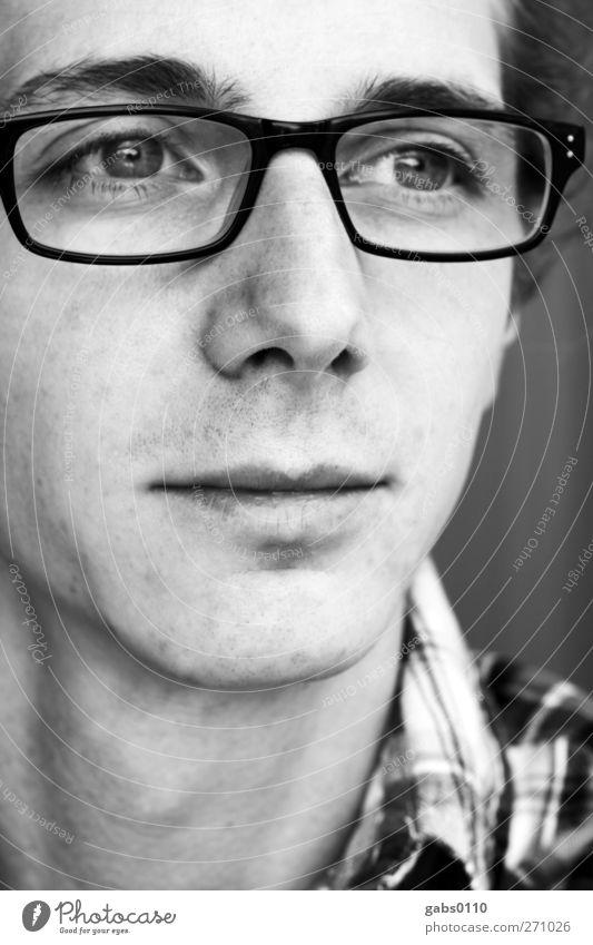 self Mensch maskulin Junger Mann Jugendliche Erwachsene Kopf Auge 1 18-30 Jahre Mode Hemd Accessoire Brille Kunststoff alt hören Kommunizieren Blick Traurigkeit