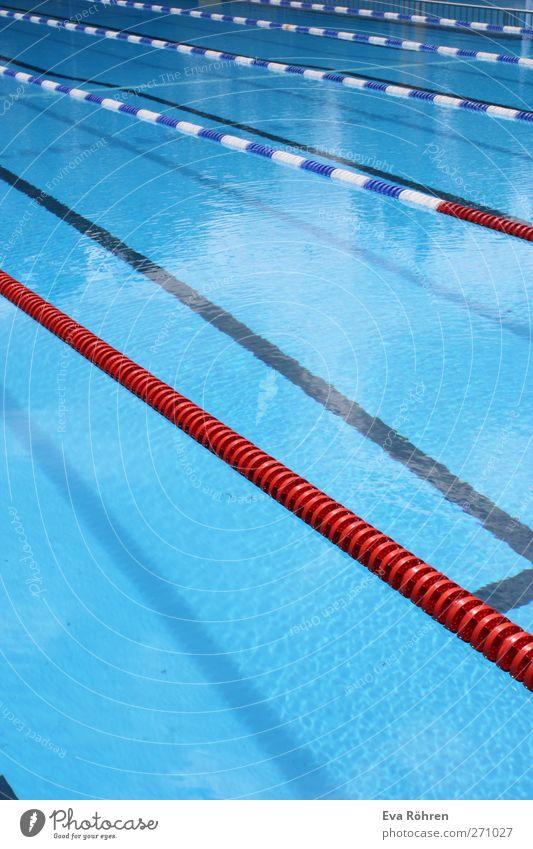 Freie Bahn blau Wasser weiß rot Sommer Einsamkeit ruhig kalt Sport Bewegung Schwimmen & Baden Freizeit & Hobby Schwimmbad Sauberkeit Fitness Flüssigkeit