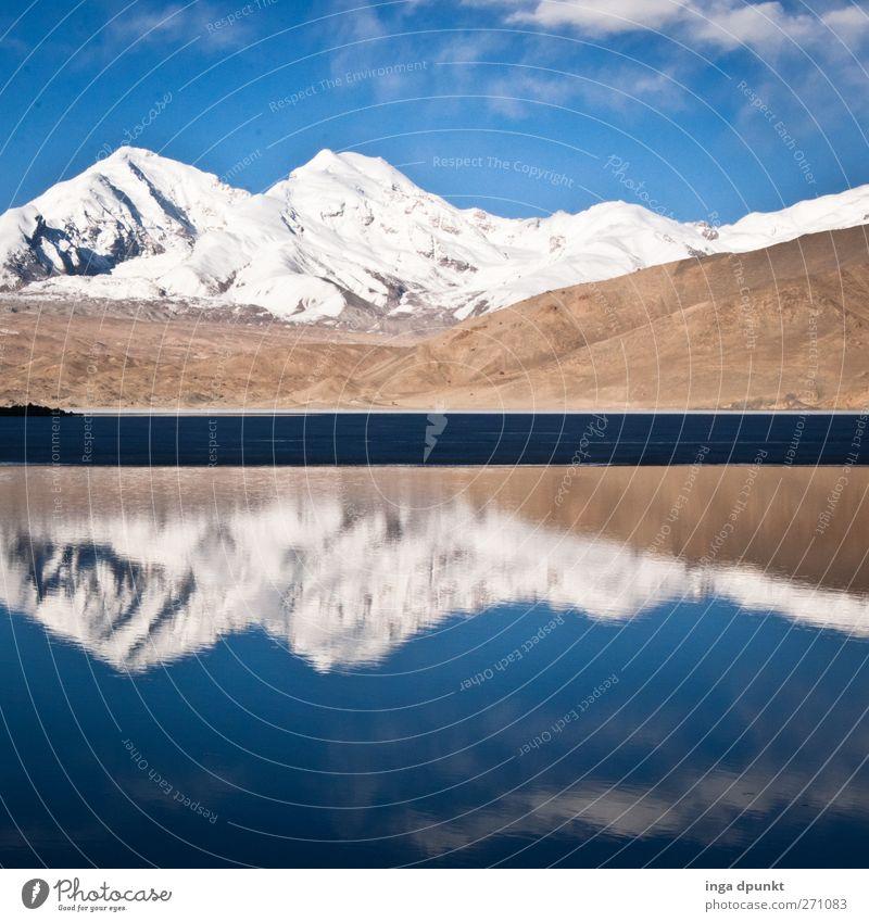 Bergschätze schön ruhig Schnee Berge u. Gebirge Natur Wasser Gipfel Schneebedeckte Gipfel See kalt blau Einsamkeit Umweltschutz Klarheit Gebirgssee Nationalpark