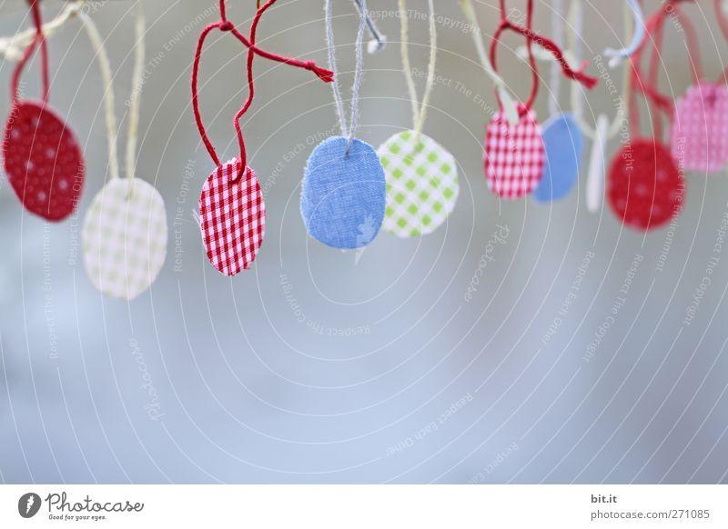 runt und bunt Schilder & Markierungen Dekoration & Verzierung Ostern rund Stoff Schnur einfach Kreativität Zeichen Idee Angeln Handwerk Sammlung hängen kariert Tradition