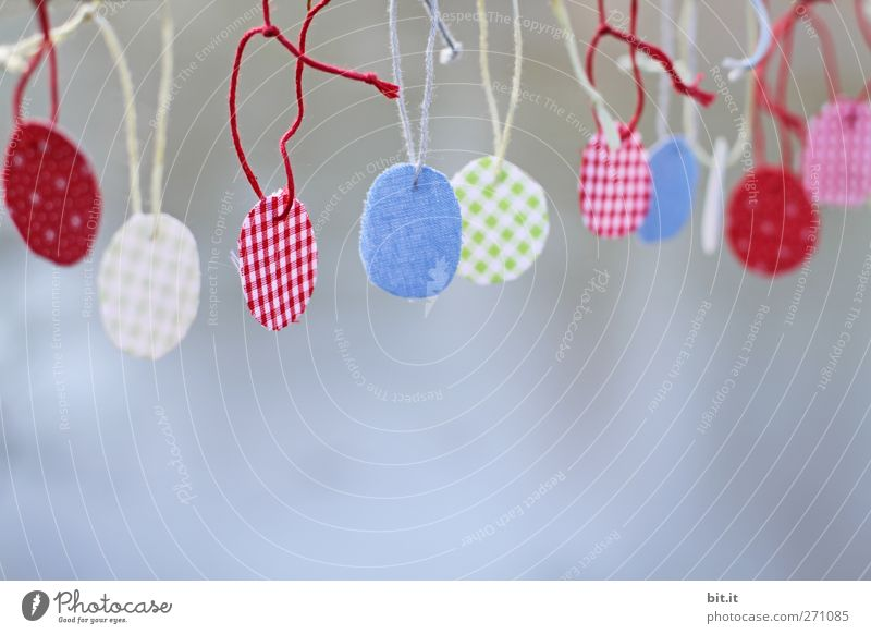runt und bunt Schilder & Markierungen Dekoration & Verzierung Ostern rund Stoff Schnur einfach Kreativität Zeichen Idee Angeln Handwerk Sammlung hängen kariert