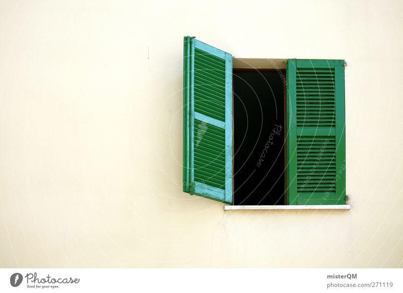 Fensterblick. Dorf ästhetisch Fensterladen Fensterbrett Fensterrahmen Fensterplatz grün offen lüften mediterran Fassade Gebäudeteil Siesta Aussicht Farbfoto