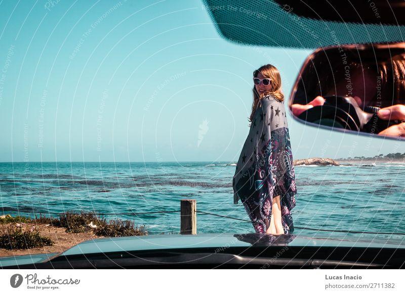 Junges Mädchen am Pazifik in Kalifornien Ferien & Urlaub & Reisen Tourismus Ausflug Abenteuer Sommer Strand Meer Wellen Mensch Junge Frau Jugendliche Erwachsene
