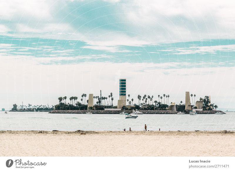 Insel bei Long Beach, Los Angeles Ferien & Urlaub & Reisen Tourismus Sommer Strand Büro Business Umwelt Natur Landschaft Wolken Baum Blatt Stadtzentrum Hochhaus