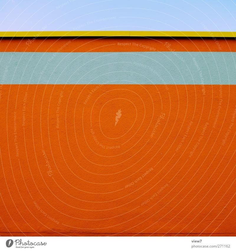 orange in Haus Bauwerk Gebäude Architektur Mauer Wand Fassade Stein Beton Linie Streifen ästhetisch authentisch elegant frisch Klischee gelb exotisch Farbe