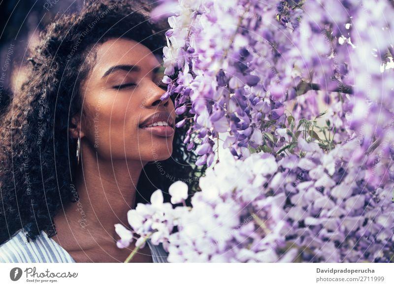 Nachdenklich fröhliche junge schwarze Frau, umgeben von Blumen. Blüte Frühling Fliederbusch Nahaufnahme multiethnisch Afrikanisch Person gemischter Abstammung