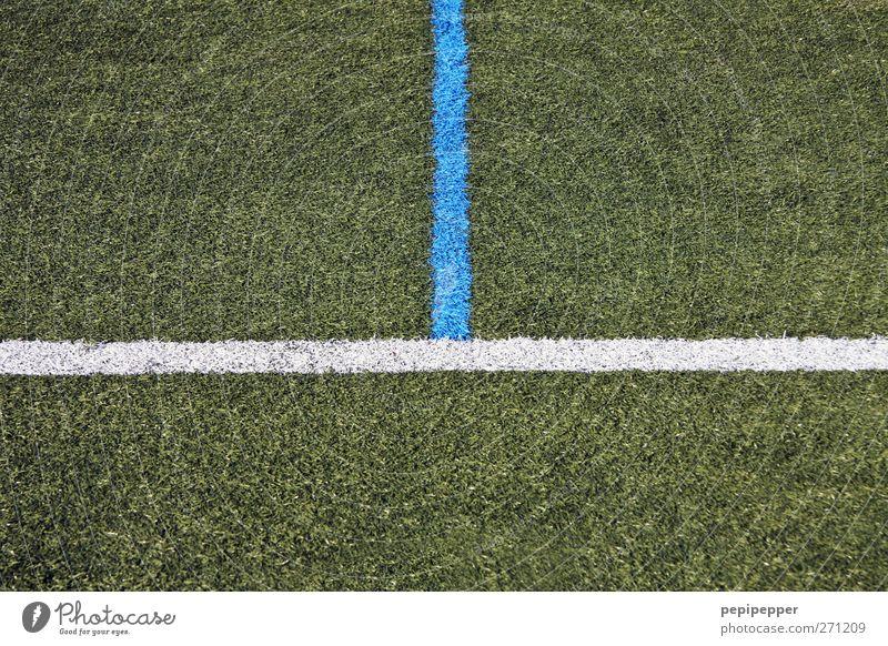 ich hier, du da! blau weiß grün Wiese Spielen Gras Linie Freizeit & Hobby Schilder & Markierungen Streifen Dinge Spielfeld Fußballplatz Querformat Ballsport