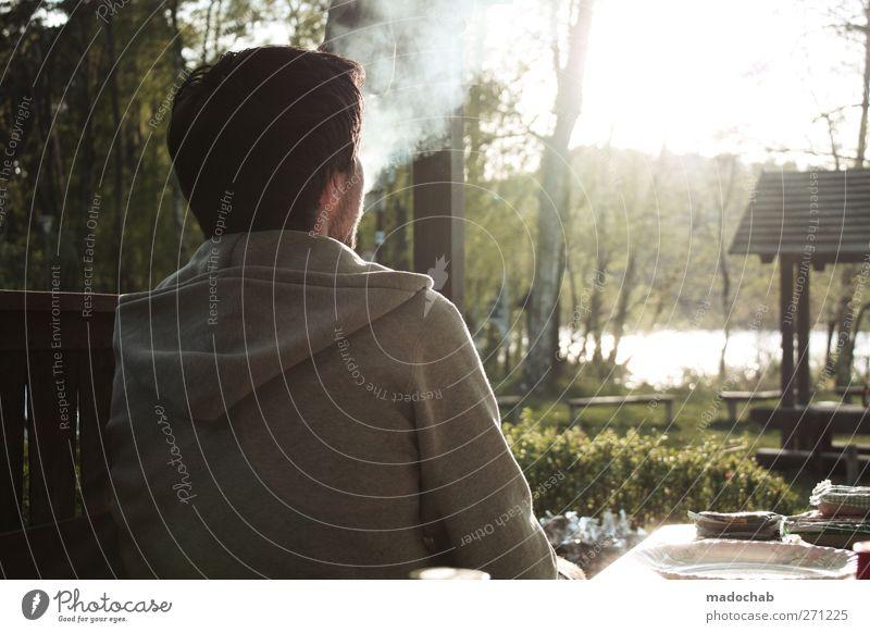 Pause Mensch Mann Ferien & Urlaub & Reisen ruhig Erwachsene Erholung Landschaft Zufriedenheit sitzen Freizeit & Hobby maskulin Lifestyle Schönes Wetter