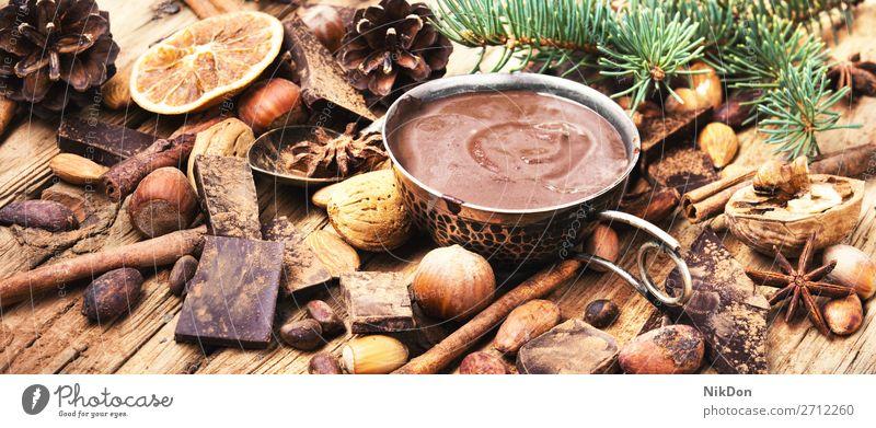 Köstliche geschmolzene Schokolade und Gewürze heiß trinken süß Becher Tasse Getränk braun Kakao Frühstück Dessert Tisch Kaffee Zimt Sahne lecker rustikal