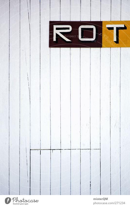 ROT. Kunst ästhetisch rot Fassade Holzbrett Stil seltsam gestreift falsch Fehler fehlerhaft Ironie Täuschung Typographie Design gestalten Farbfoto