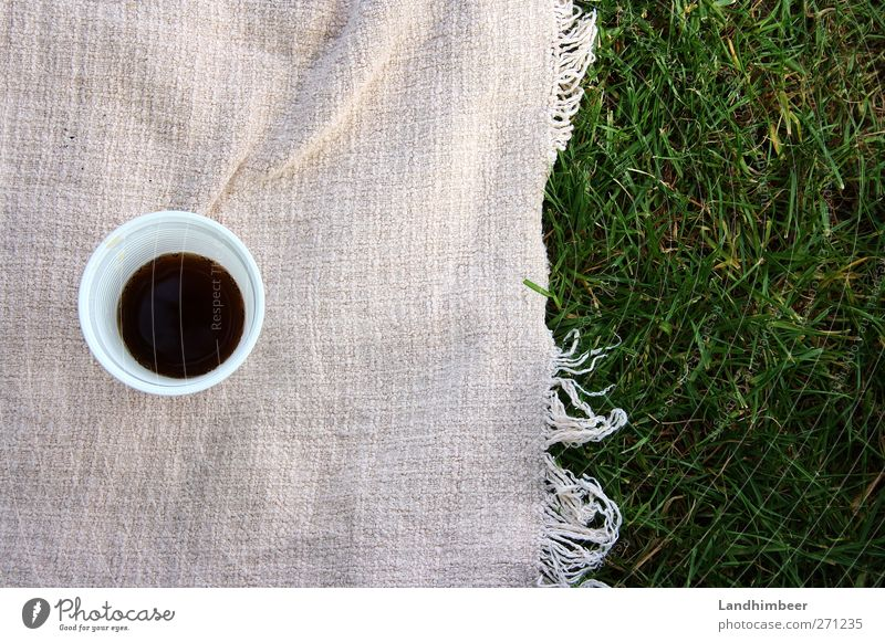 Colapicknick. Getränk Becher Gras trinken lecker süß grün rosa schwarz weiß Farbfoto Außenaufnahme Menschenleer Tag