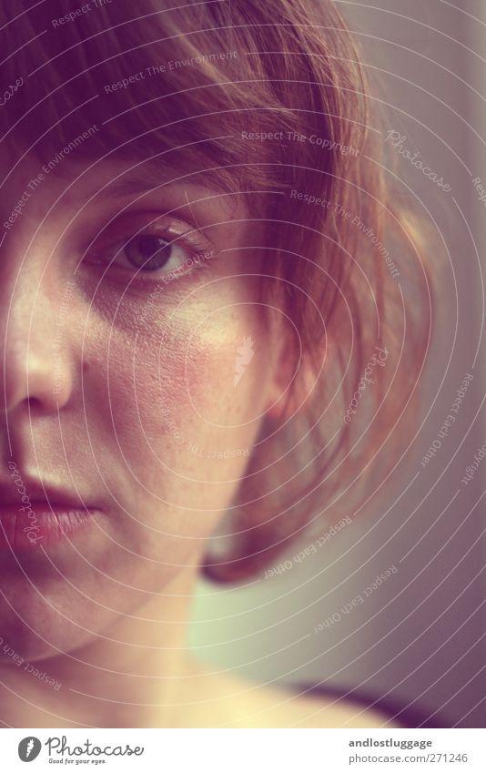 sommergesicht. Mensch feminin Junge Frau Jugendliche Haare & Frisuren Gesicht Auge 1 18-30 Jahre Erwachsene brünett Pony Wuschelkopf schön Wärme Stimmung