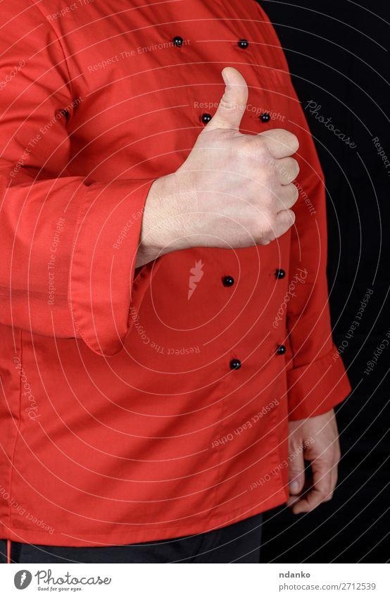 Koch in rot zeigt Geste wie z.B. elegant Stil Körper Küche Restaurant Beruf Mensch Mann Erwachsene Hand Bekleidung Jacke gut schwarz Gefühle kaufen Kreativität