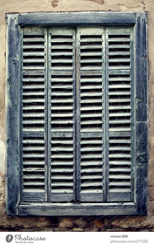 geschlossen. Kunst ästhetisch Fenster Fensterladen Fensterbrett Fensterrahmen Fenstersims Fensterblick Muster mediterran verfallen alt antik Farbfoto
