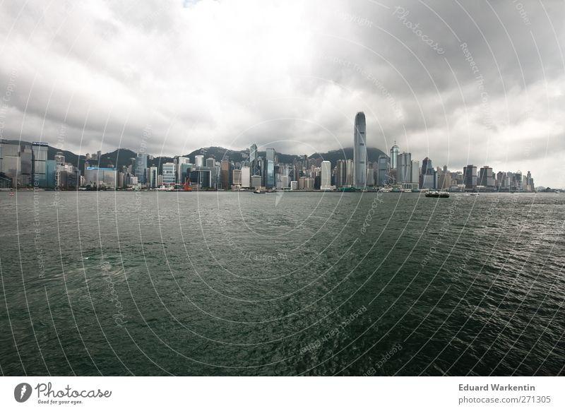 Hong Kong Island Himmel Wasser Stadt Meer Wolken Haus dunkel Wasserfahrzeug außergewöhnlich Insel Hochhaus Bankgebäude Asien Skyline China Hauptstadt