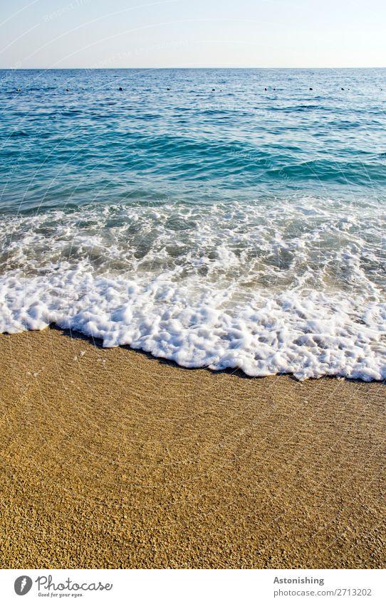 Strand Umwelt Natur Landschaft Himmel Horizont Sommer Wetter Schönes Wetter Wellen Küste Meer Mittelmeer Albanien schön Wärme blau gelb weiß Gjipe Gjipe Beach