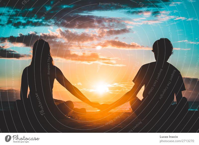 Silhouette eines Paares am Coronado Beach, San Diego Ferien & Urlaub & Reisen Tourismus Sommer Strand Mensch Junge Frau Erwachsene Mann Partner 2 Umwelt Natur