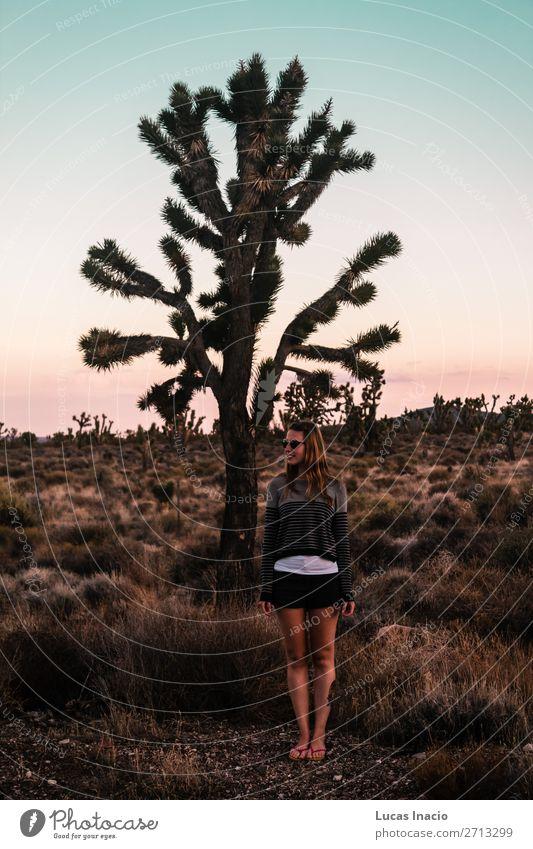 Mädchen in der Mojave-Wüste nahe der Route 66 in Kalifornien Ferien & Urlaub & Reisen Tourismus Sommer Berge u. Gebirge Mensch feminin Junge Frau Jugendliche