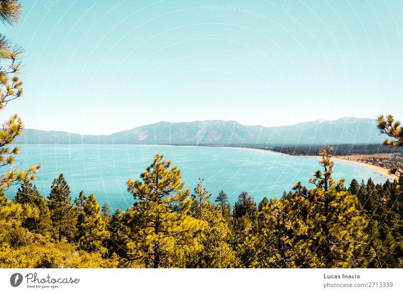 Emerald Bay und Lake Tahoe Ferien & Urlaub & Reisen Tourismus Sommer Berge u. Gebirge Garten Umwelt Natur Himmel Baum Gras Blatt Park Wald Hügel Felsen See