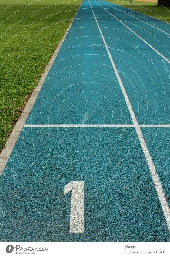 Bahn 1 Sport springen Erfolg Beginn Fitness Flugzeugstart Abheben Sport-Training Sportveranstaltung Rennbahn Startblock erste Joggen Sportstätten Leichtathletik 100 Meter Lauf