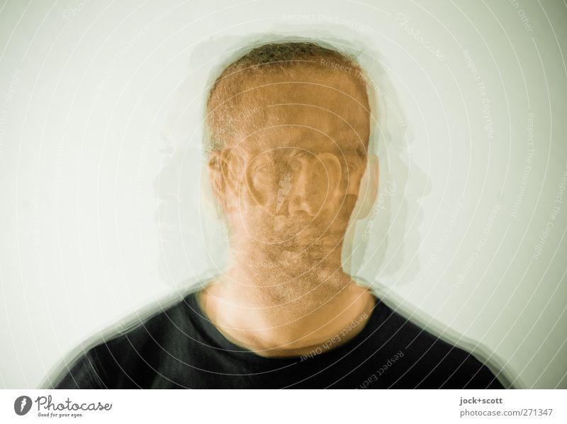 Porträt sechsmal Mensch maskulin Mann Kopf Bart 1 brünett kurzhaarig Bewegung drehen hell nerdig Gefühle Nervosität unbeständig Identität Konzentration
