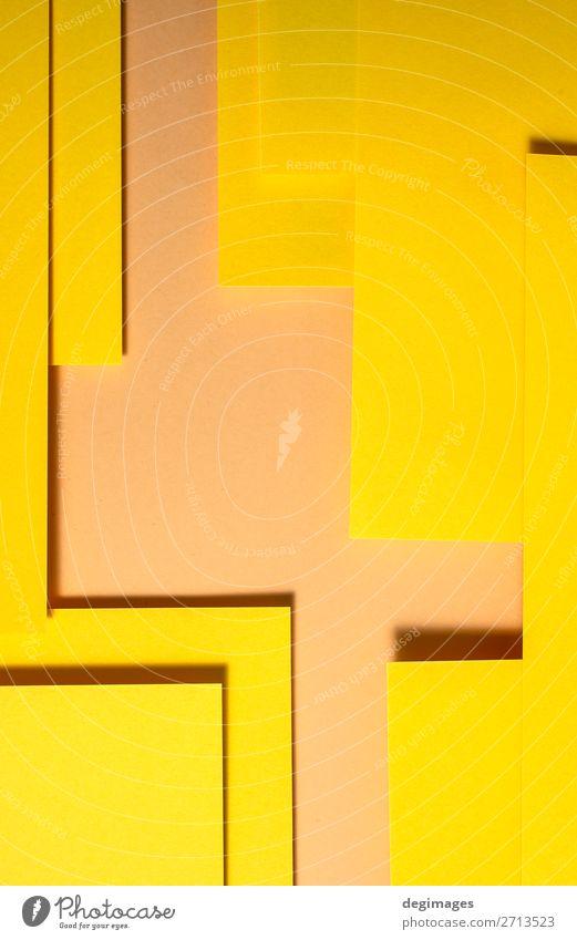 Gelbes Papier Material Design. Geometrische einfarbige Formen Tapete Handwerk Kunst Linie Streifen retro gelb Farbe geometrisch Hintergrund Konsistenz graphisch