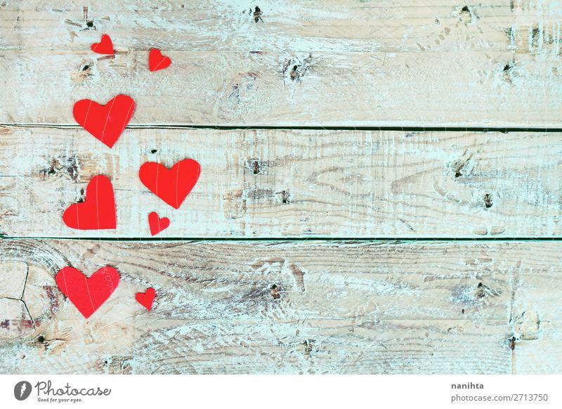 Valentinstag Hintergrund mit roten Herzen Stil Design Dekoration & Verzierung Feste & Feiern Holz Liebe niedlich blau türkis Romantik Partnerschaft Farbe Idee