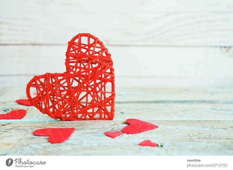 Valentinstag Hintergrund mit roten Herzen Design Dekoration & Verzierung Holz Liebe Fröhlichkeit frisch schön niedlich blau türkis Romantik Partnerschaft Farbe