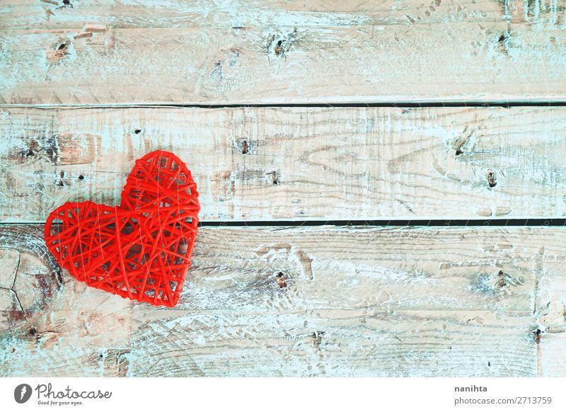 Valentinstag Hintergrund mit roten Herzen Design Dekoration & Verzierung Holz Liebe Fröhlichkeit frisch Gesundheit schön einzigartig niedlich türkis Romantik