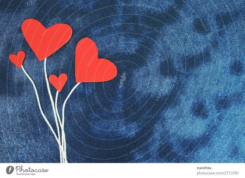 Valentinstag Hintergrund mit roten Herzen Design Dekoration & Verzierung Familie & Verwandtschaft Linie Liebe Freundlichkeit Fröhlichkeit schön niedlich blau