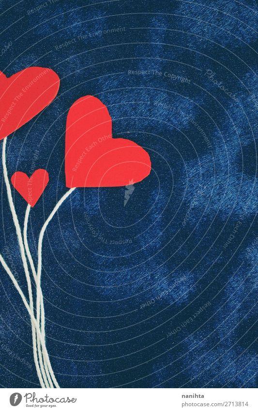 Valentinstag Hintergrund mit roten Herzen Design Dekoration & Verzierung Liebe niedlich blau türkis Akzeptanz Vertrauen Güte Selbstlosigkeit Menschlichkeit