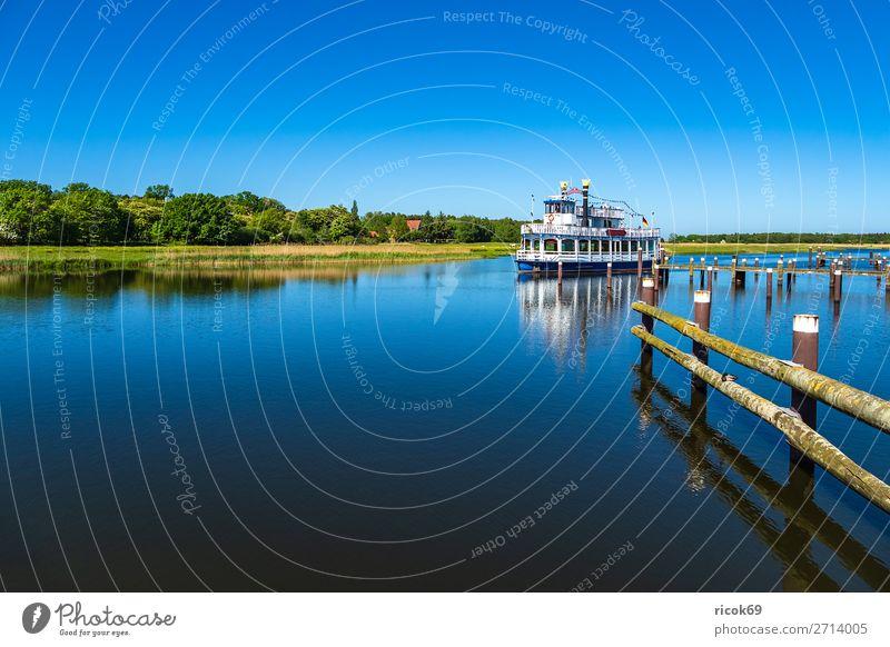 Ausflugsschiff auf dem Prerowstrom in Prerow Erholung Ferien & Urlaub & Reisen Tourismus Natur Landschaft Wasser Wolkenloser Himmel Wetter Baum Wald Hafen