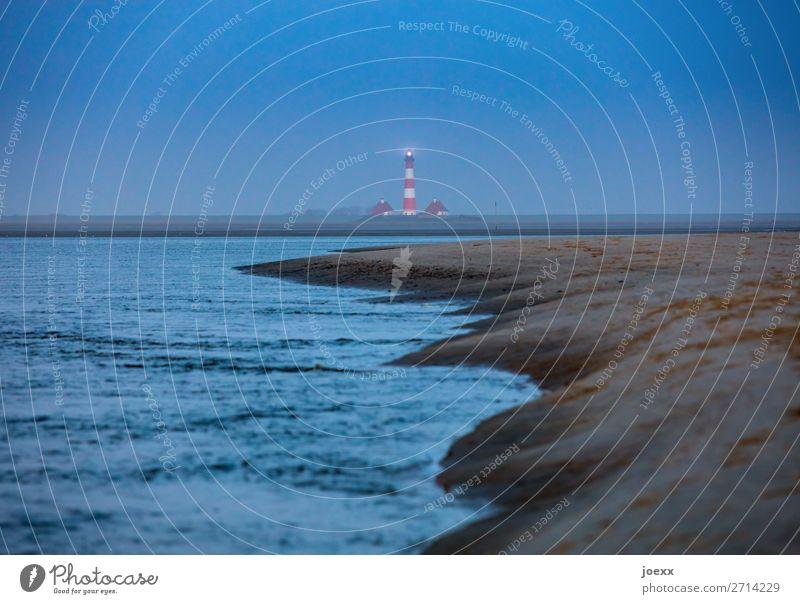 Im Schweigen stets da Himmel Wasser Meer Haus ruhig Strand Küste Horizont Idylle Sehenswürdigkeit Hoffnung Nordsee Leuchtturm schlechtes Wetter