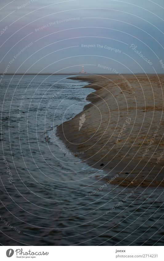 weit weit weg Natur alt blau Wasser Strand dunkel braun Horizont fest Flüssigkeit Nordsee Leuchtturm maritim schlechtes Wetter Westerhever Leuchtturm