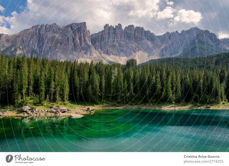 Carezza-See in den Dolomiten, Italien carezza dolomiti Landschaft Berge Sommer Wasser durchsichtig grün Alpen Außenaufnahme Ferien & Urlaub & Reisen Natur