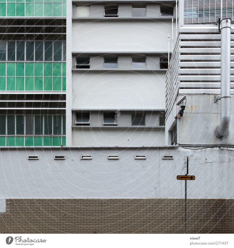 profan grün Haus Fenster Wand oben Architektur Stein Mauer Gebäude Stimmung Fassade Ordnung Beton modern authentisch Hochhaus