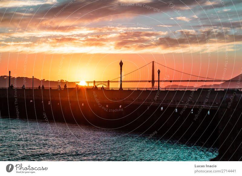 Sonnenuntergang an der Golden Gate Bridge in San Francisco, Kalifornien Ferien & Urlaub & Reisen Tourismus Sommer Strand Meer Umwelt Natur Sand Himmel Wolken