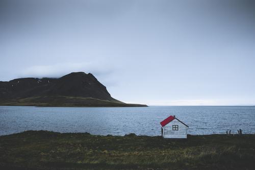 Datsche Landschaft Wasser Himmel Horizont Frühling Schönes Wetter Wind Gras Felsen Berge u. Gebirge Strand Bucht Fjord Meer Menschenleer Hütte Dach kalt maritim