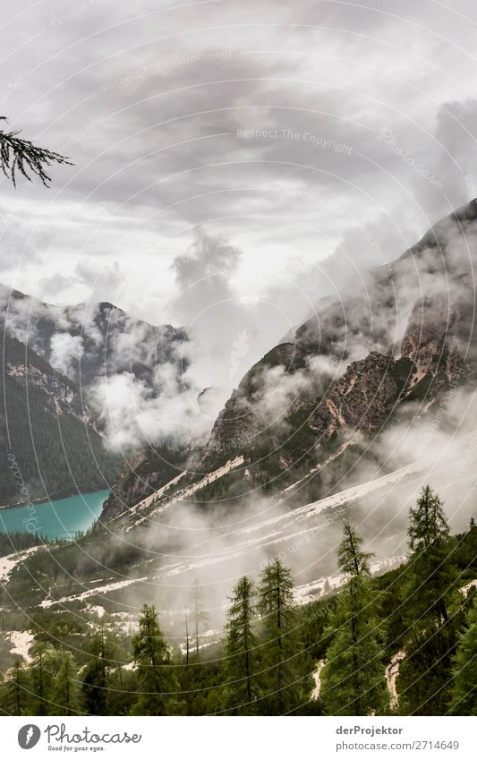 Schlechtes Wetter am Pragser Wildsee/Lago di Braies Ferien & Urlaub & Reisen Tourismus Ausflug Abenteuer Ferne Freiheit Berge u. Gebirge wandern Umwelt Natur