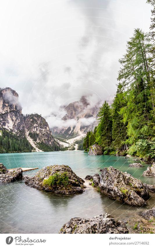 Lago di Braies ohne Steg und ohne Boote Ferien & Urlaub & Reisen Natur Sommer Pflanze Landschaft Baum Tier Wald Ferne Berge u. Gebirge Umwelt Tourismus