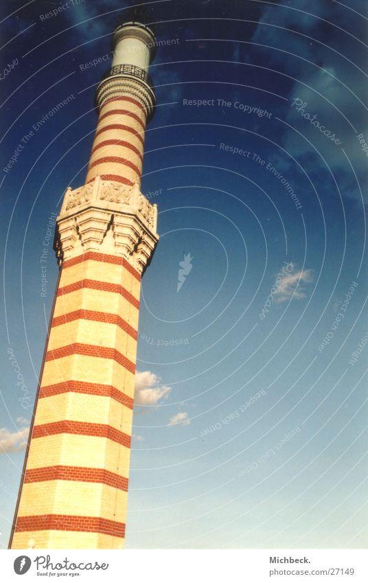 Minarett Himmel blau Religion & Glaube Gotteshäuser Farbverlauf Backsteinfassade