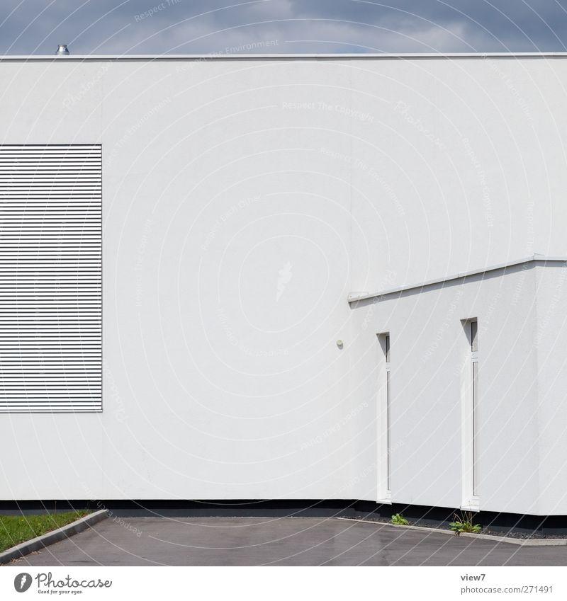 industries weiß Haus Ferne Fenster Wand Architektur Mauer Gebäude Tür Fassade Ordnung Beginn Design modern frisch authentisch