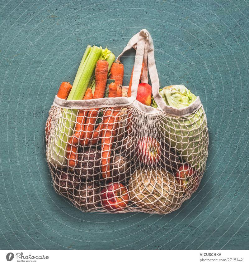 Wiederverwendbare Einkaufstasche voller Bio-Gemüse Lebensmittel Ernährung Bioprodukte Vegetarische Ernährung Diät kaufen Stil Design Ladengeschäft Recycling