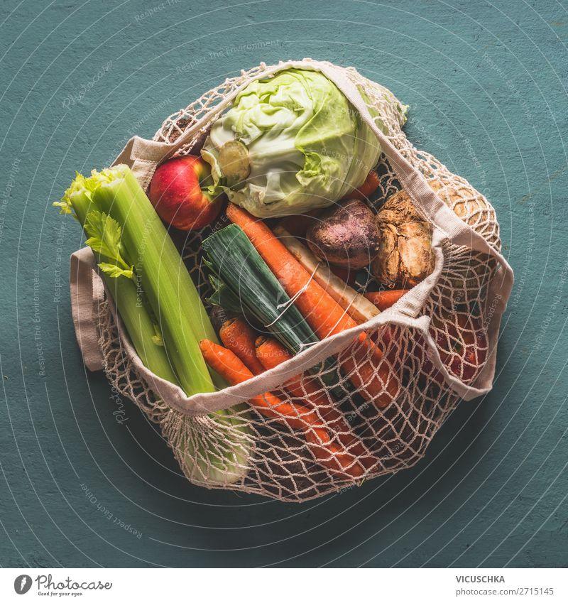 Bio-Gemüse in umweltfreundlichem Netzbeutel Lebensmittel kaufen Design Gesunde Ernährung Stil Bioprodukte ökologisch wiederverwendbar Tasche Beutel Farbfoto