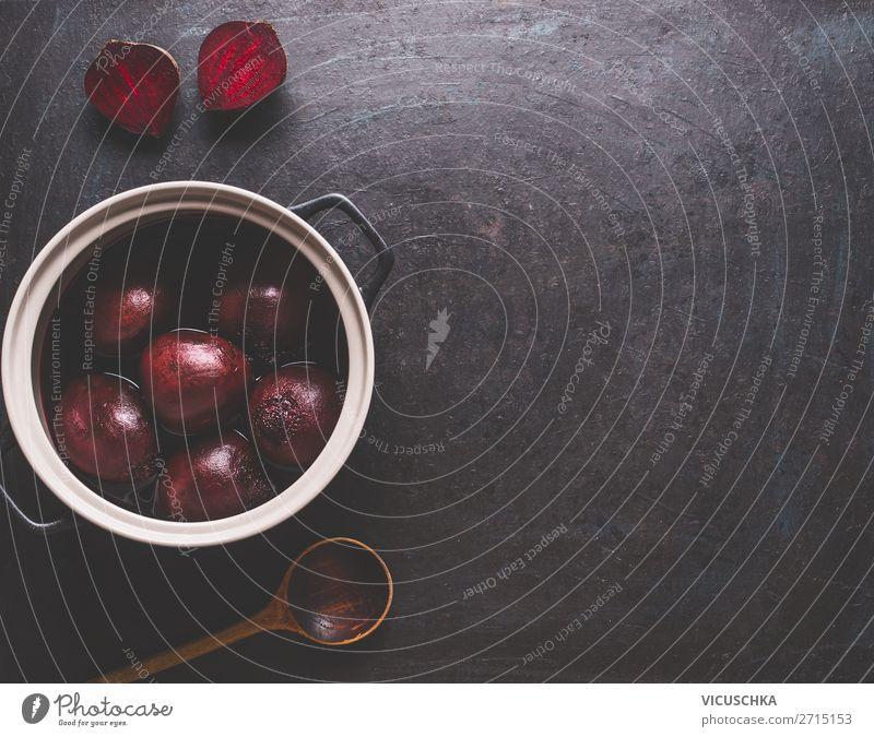 Gekochte Rote Beteim Topf mit Kochlöffel Lebensmittel Gemüse Ernährung Geschirr Stil Design Gesundheit Gesunde Ernährung Tisch Hintergrundbild Vegane Ernährung