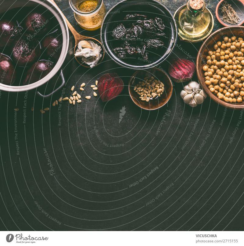 Rote Bete Kichererbsen Salat Zutaten für vegane Ernährung Lebensmittel Gemüse Salatbeilage Kräuter & Gewürze Öl Mittagessen Bioprodukte Vegetarische Ernährung
