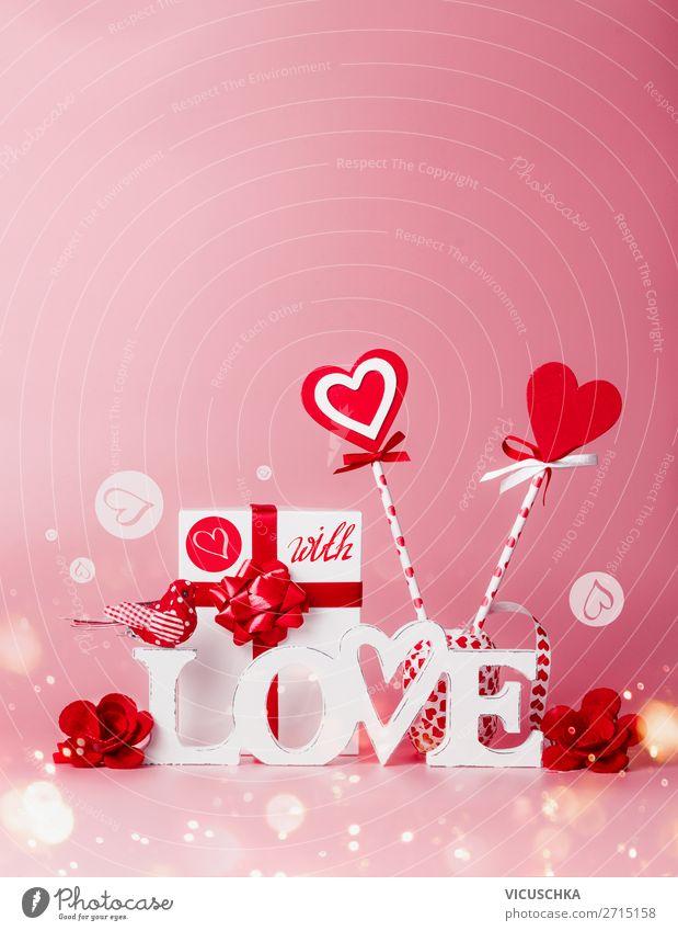 Valentinstag Hintergrund mit Liebe und Herzen kaufen Stil Design Party Veranstaltung Feste & Feiern Dekoration & Verzierung Kerze Schleife rosa rot weiß