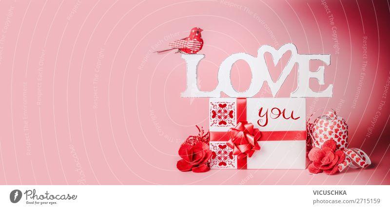 Valentinstag Hintergrund mit Geschenk kaufen Stil Design Dekoration & Verzierung Party Veranstaltung Feste & Feiern Schleife Herz Fahne Liebe rot Tradition