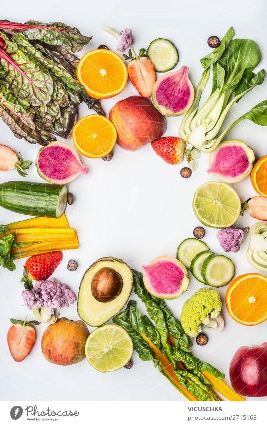 Saisonale Sommer Obst und Gemüse Lebensmittel Salat Salatbeilage Frucht Ernährung kaufen Stil Design Gesunde Ernährung gelb Hintergrundbild Vitamin Prima Kiwi