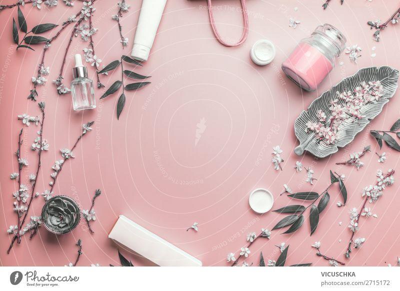 Modern Kosmetik, Beauty und Hautpflege schön Blatt Gesundheit Gesicht Hintergrundbild Blüte rosa Design modern kaufen Wellness Creme Verpackung Rahmen